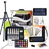 Tavolozza 126pcs Deluxe Artist Painting Set with Aluminum Easel Canvas Drawing Tools for Beginner, Student and Artist
