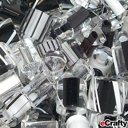 Cane Glass Beads USA Fire Designs Mix Tubes 10g 10pc Black White Tuxedo (The Glass Furnace compare prices)