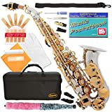 320-2C - SILVER/GOLD Keys Curved Bb Soprano Saxophone Lazarro+11 Reeds,Music Pocketbook,Case,Care Kit - 24 COLORS - SILVER or GOLD KEYS - CHOOSE YOURS !