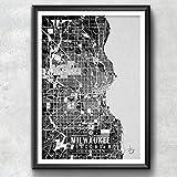Milwaukee Wisconsin Map with Coordinates, Milwaukee Map, Map Art, Map Print, Milwaukee Print, Milwaukee Art, Milwaukee Wall Art, Map, Poster, Wall Art