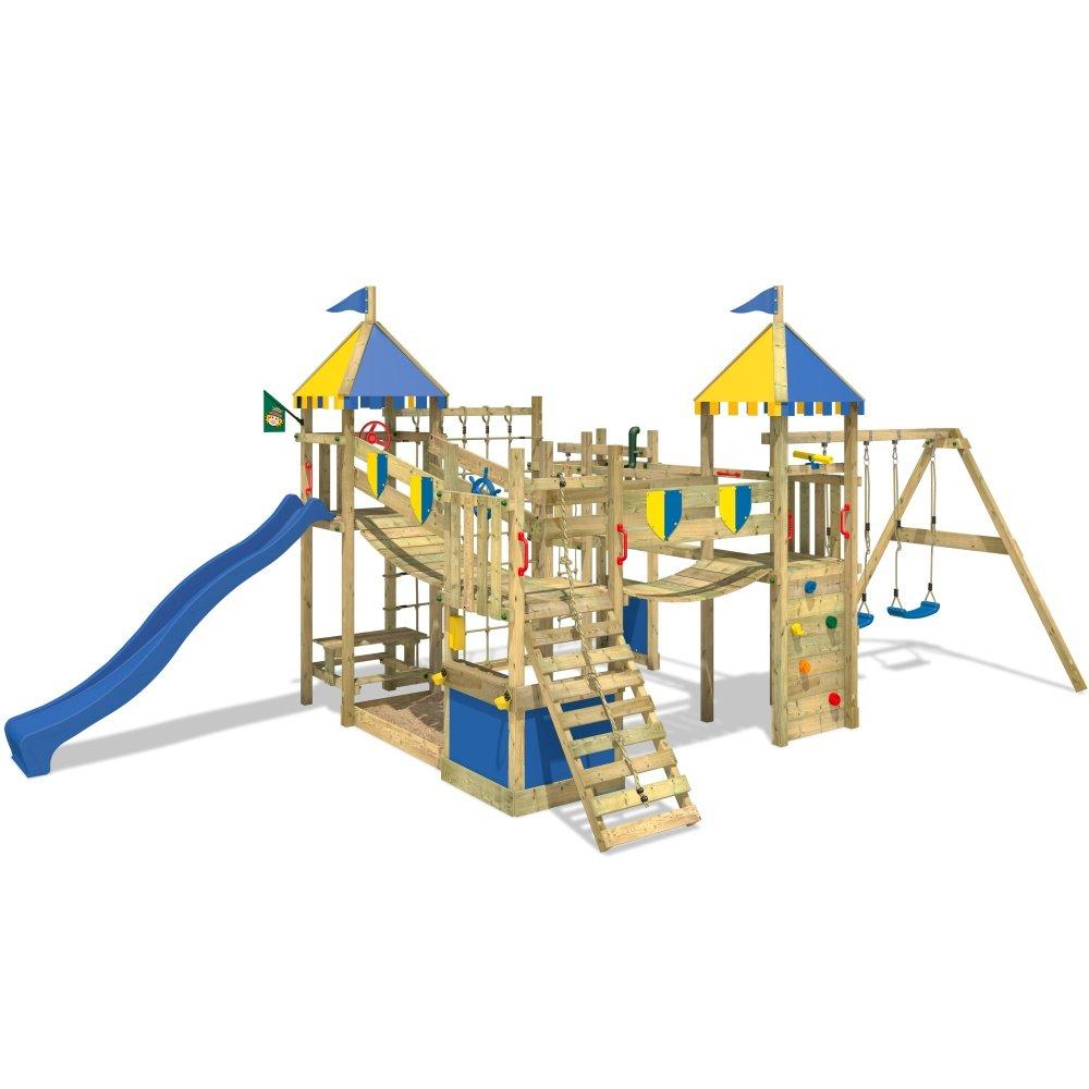 WICKEY Smart King Spielturm Rutsche Schaukel Sandkasten Blaue Rutsche / Blaue und Gelbe Plane online kaufen