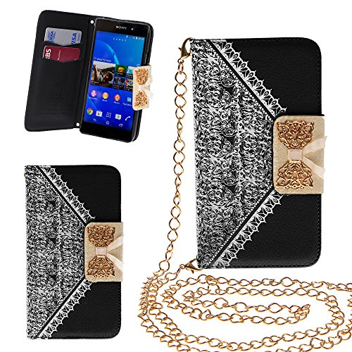 Xtra-Funky Exclusive Pu Leather Lace Pattern & Golden Bow Flip Case Cover Purse Handbag With Credit Card And Money Slots & Detachable Golden Chain For Sony Xperia Z3 - Black