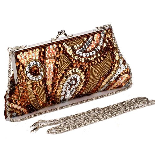 BEA103 Handmade Golden Brown Sequin Handbag Evening Purse Holiday Party Clutch W Chain Gift