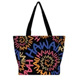 Robin Ruth Canvas Tote Bag Hawaii Swirl #2 Black, Orange, Blue Medium (Color: Black, Orange, Blue, Tamaño: Medium)