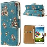 jbTec® Flip Case Handy-Hülle zu Samsung Galaxy S4 / GT-I9505 / GT-I9500 / VE GT-I9515, LTE+ / GT-I9506 - STAND BOOK BLUMEN - Handy-Tasche, Schutz-Cover