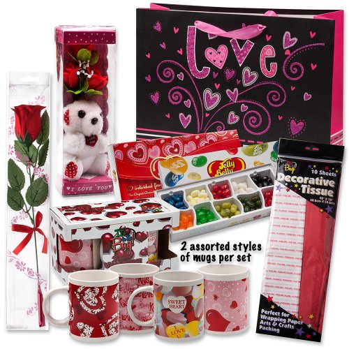 "Valentine Gift Set; Complete with Gift Bag, Tissue Paper, White Rose, ""I Love You"" Mini Bear, 2 Valentine Mugs & Jelly Belly 10 Flavor Gift Box!"