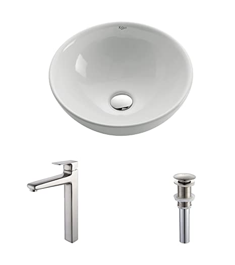 Kraus C-KCV-141-15500BN White Round Ceramic Sink and Virtus Faucet Brushed Nickel