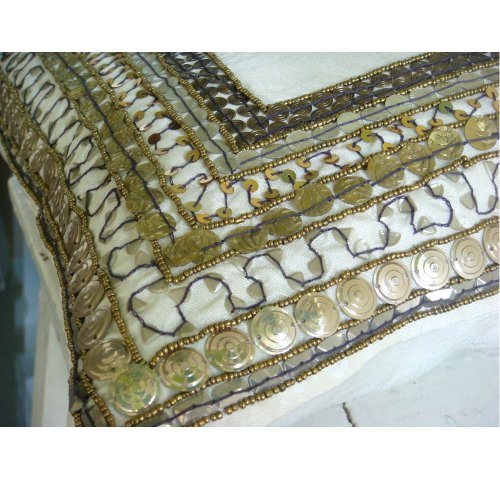 Ivory Treasure - 20X20 Inches Square Decorative Throw Ivory Silk Pillow Covers With Antique Sequin Embroidery front-950620