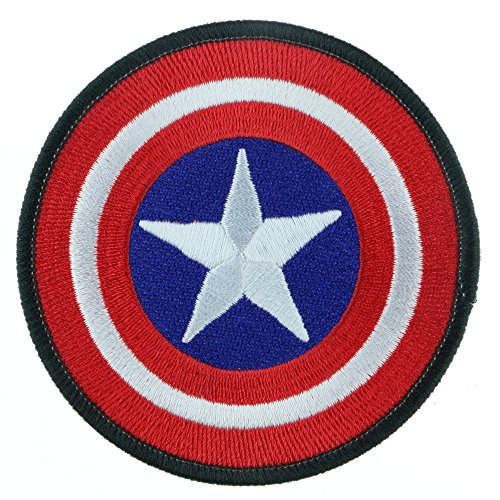 Iron Sew on Applique Patch : Captain America (Red) (Captain America Logo Iron On compare prices)