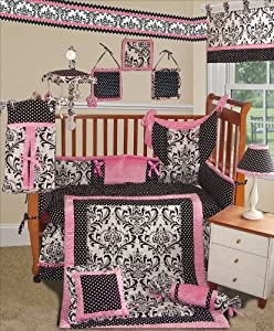 Custom Baby Bedding -Rose Damask 13 PCS Crib Bedding