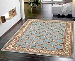 Ottohome Collection Sage Green / Aqua Blue Floral Trellis Design Modern Area Rug With Non-Skid (Non-Slip) Rubber Backing (3\'3\