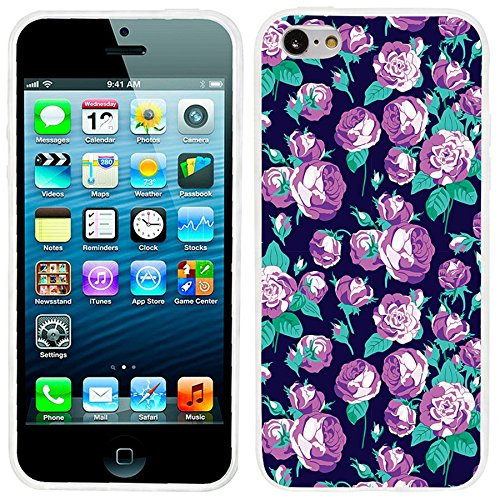 iPhone 5c Case, iphone5c case, ChiChiC full Protective unique Stylish Case slim durable Soft TPU Cases Cover for iPhone 5c iphone5c,purple violet roses flower (Iphone 5c Flower Case Protective compare prices)