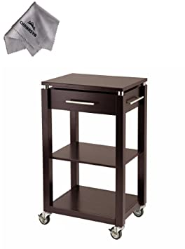 Linea Kitchen Cart with Chrome Accent and With Chanasya Polish Cloth