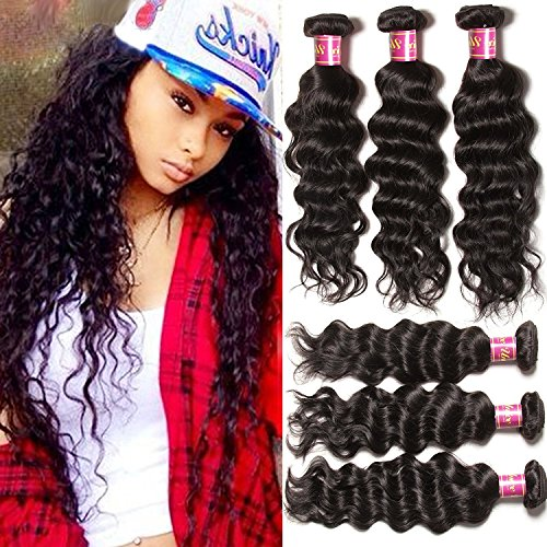 Unice Remy Brazilian Natural Wave Hair 100% Virgin Human Hair 3 Bundles 6A Grade Natural Color (12 14 16) (Natural Wave Hair compare prices)