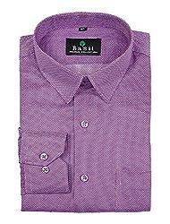 Basil Men's Poly Cotton Formal Shirt (BA380PLC57FSF-42, Purple, 42)
