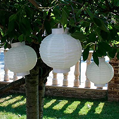 Spring Rose(TM) 8 Inch White Shanghai Style Paper Chinese Lanterns with LED Light Inside(set of 10). These Make A Great Party Decoration. Great For An Bridal Shower or Anniversary Party. A Must For Your Wedding Supplies.