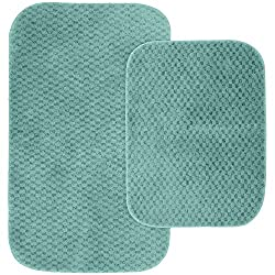 Garland Rug 2-Piece Cabernet Nylon Washable Bathroom Rug Set, Seafoam