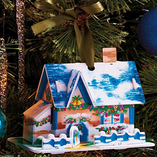 36 PCS Christmas Greeting Cards Box Set Holiday Village Ornament Kit with Envelopes. Also an Ornament for Xmas Tree Decoration.
