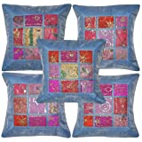 Traditional Handmade Zari Embroidery Silk Cushion Cover 16 X 16 Inches Set 5 Pcs - B00JGOVNSO