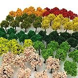 森林 選べる 色 数量 50本 100本 【DauStage】 Nゲージ ジオラマ 鉄道 建築 模型 用 樹木 風景 3㎝ (21,ミックス 90本)