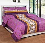 Soni Traders Floral Print Polycotton Double Bedsheet With 2 Pillow Covers (BST_179)