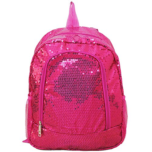 Beautiful Sequin Cheer Yoga Girly School Backpack (Hotpink)