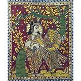 "Dolls Of India ""Krishna Adoring Radha"" Kalamkari Paintings On Cotton - Unframed (116.84 X 96.52 Centimeters)"