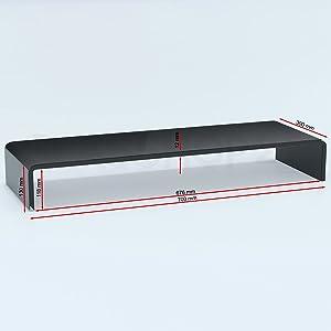 TVGlasaufsatz Monitor Erhöhung (B/T/H) 700x300x130mm  schwarz    Kundenbewertung und weitere Informationen