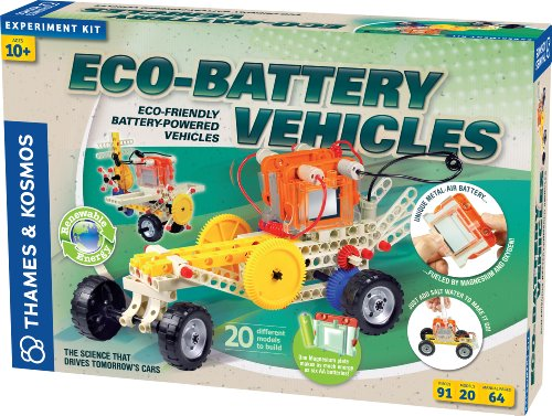 Thames & Kosmos 620615 Eco-Battery Vehicles Science Experiment Kit With Coloring Book