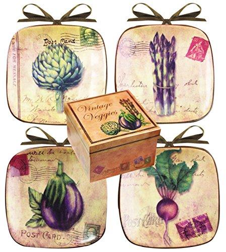 Manual Set Of 4 Decorative Mini-Plates, Vintage Veggies front-972972