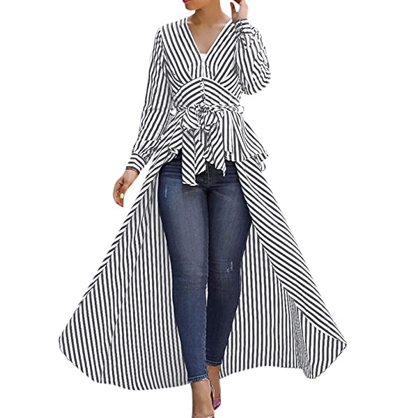 Women Stripe V-neck Large Bow Tie Waistband Long Sleeve Loose Vintage Dress