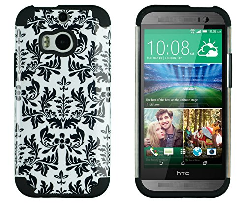 Dandycase 2In1 Hybrid High Impact Hard Black Flower Pattern + Silicone Case Cover For Htc One M8 (2014 Release) + Dandycase Screen Cleaner