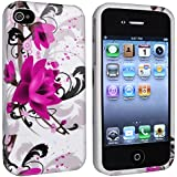 eForCity TPU Rubber Skin Case compatible with Apple® iPhone® 4 / 4S, White / Purple Flower