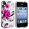 eForCity TPU Rubber Skin Case compatible with Apple� iPhone� 4 / 4S, White / Purple Flower