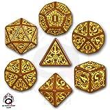 Q Workshop Q-Workshop Polyhedral 7-Die Set: Carved Steampunk Dice Set (Brown & Yellow)