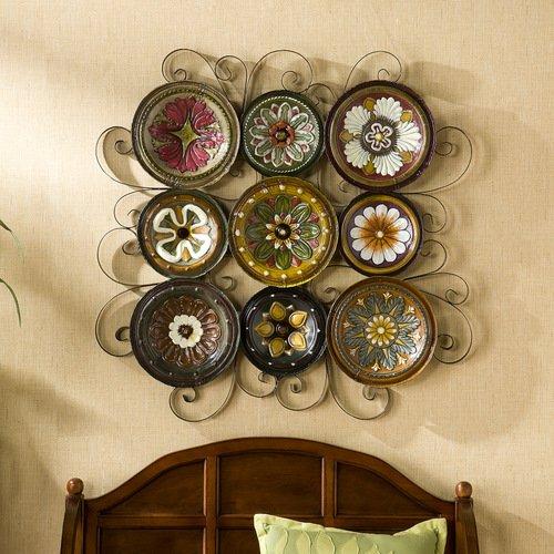 Grid Wall Sculpture Italian Floral Pattern Plates Wall Art