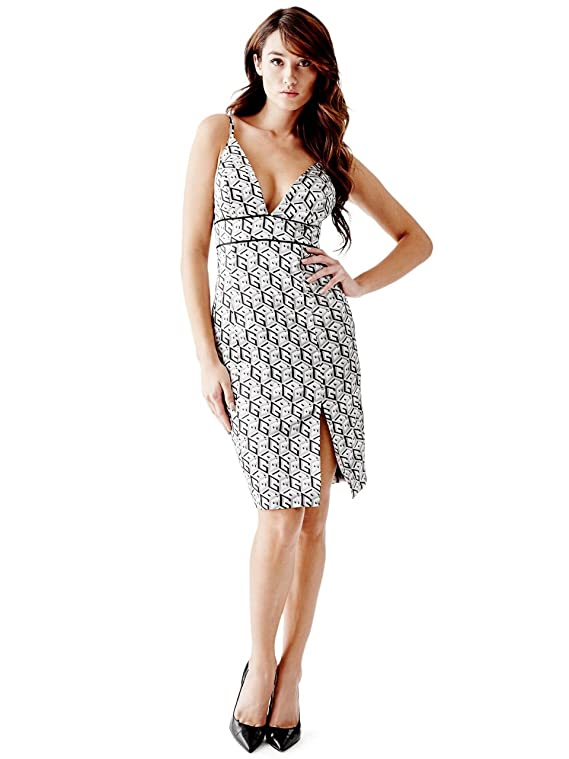 GUESS Women's G Cube Sleek Plunge Dress