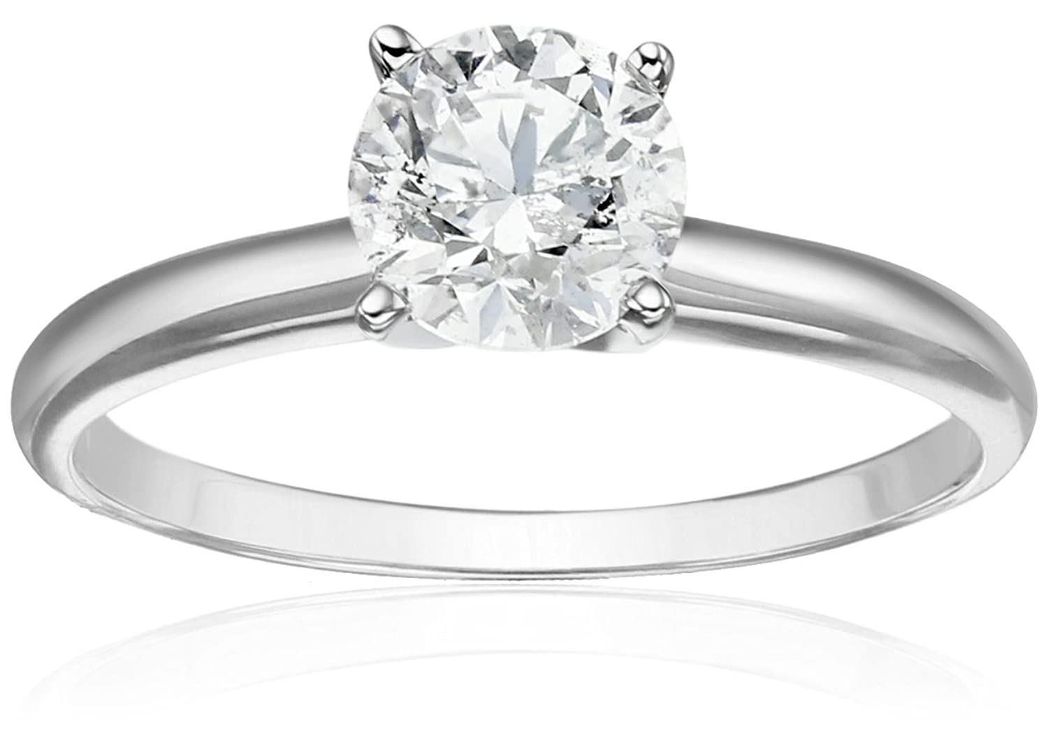 14k White Gold Round Solitaire Diamond Ring (1 cttw, H-I Color, I2-I3 Clarity)
