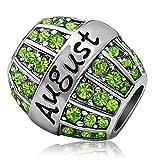 JMQJewelry Birthday Birthstone Green August Gift Crystal Rhinestone Spacer Charms Bead For Bracelets