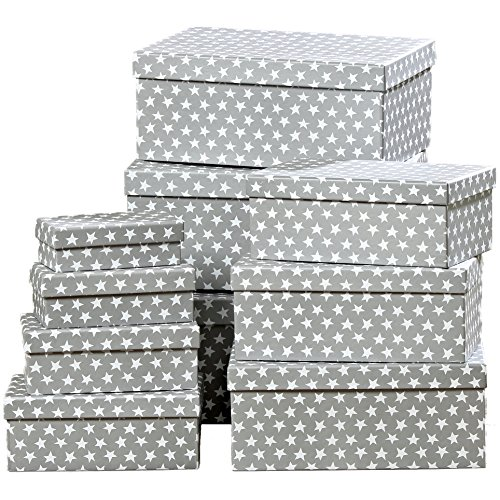 The Cape Cod Star Box Collection, Set of 10, Decorative, Storage, Stacking or Gift Boxes, By Whole House Worlds