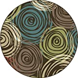 Universal Rugs 1015 Deco Round Contemporary Area Rug, 5-Feet 3-Inch, Brown