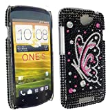 PINK BUTTERFLY PRINT ON BLACK DIAMOND HARD BLING GEM CASE COVER FOR HTC ONE S