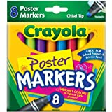 Poster Markers, Chisel Tip, Washable, 8/BX, Assorted