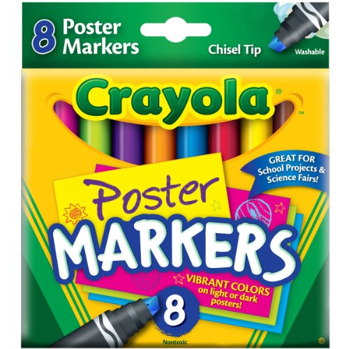 Crayola Washable Poster Markers, Assorted, 8/Pk CYO588173