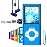 MP3 Player/MP4 Player, Hliwoynes MP3 Music Player with 16GB Memory SD card Slim Classic Digital LCD 1.82'' Screen MINI USB Port with FM Radio, Voice record (16GB-Blue-01-lx) (Color: 16GB-Blue-01-lx)