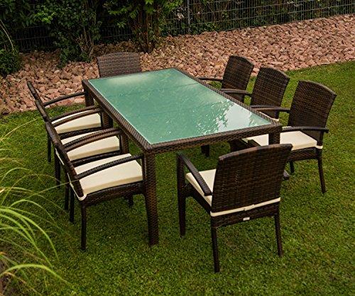 13tlg. Premium Rattan Sitzgruppe Garnitur Garten Möbel Tisch + Stuhl Braun