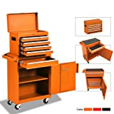 Big Tool Chest,Rolling Tool Chest,Tool Chest with Wheels and Drawers,Removable 4-Wheel Tool Chest,Tool Cabinet with 5 Drawers,Large Capacity Tool Box with Lock,Orange (Color: Orange)