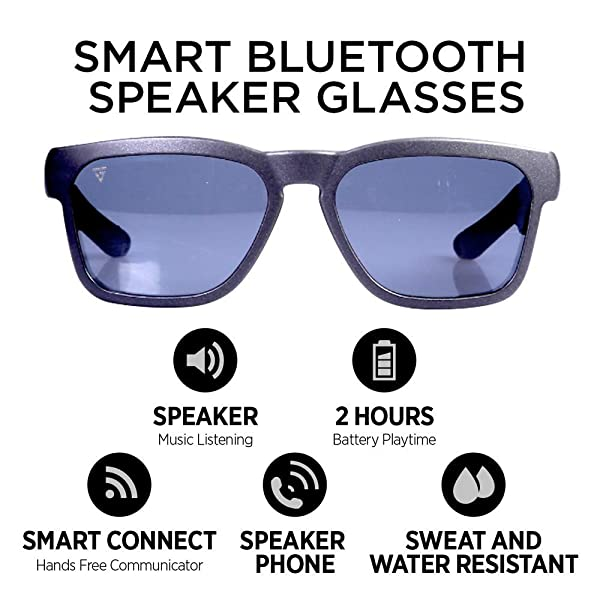 GoVision Kaleo Smart Glasses | Bluetooth Sunglasses | Wearable Technology Headphones - Listen to Music, take Calls and Send Texts- (Color: Black)