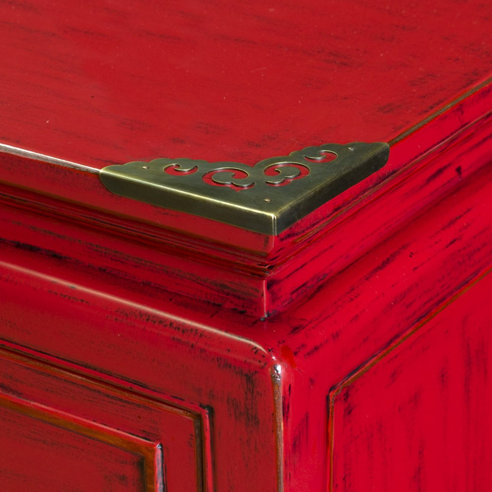 China Furniture Online Elmwood Sideboard, Zen Longevity Design Cabinet Distressed Red Finish 3