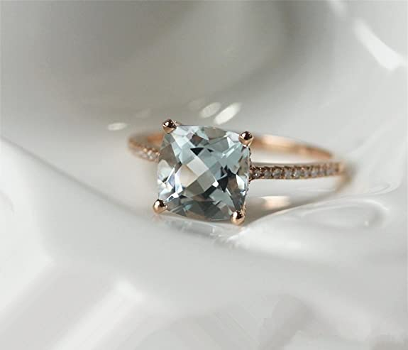 Voguegem 14ct Rose Gold Engagement Wedding Ring with 8mm Cushion Cut VS Aquamarine and Accent 0.25ct Natural Diamond